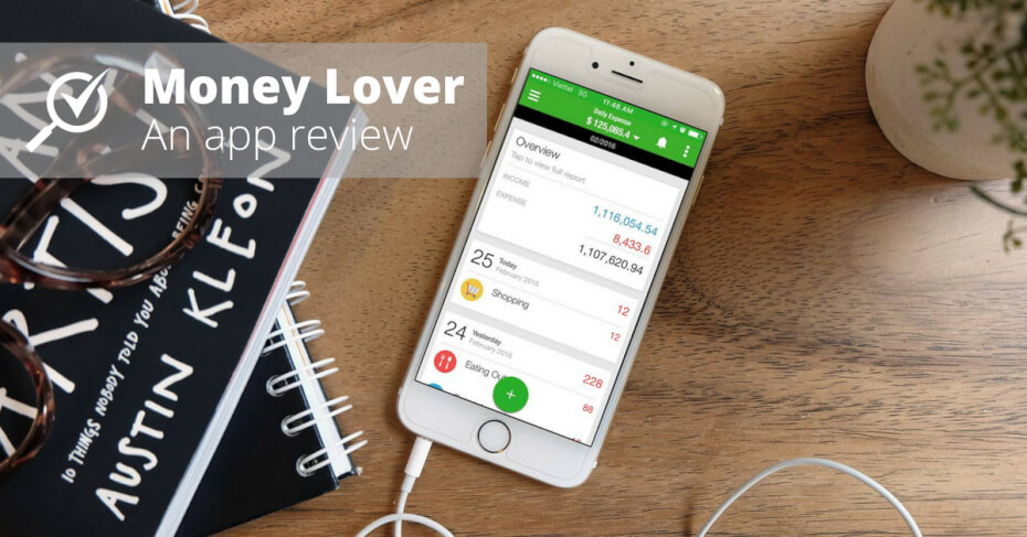 Money Lover on Apple iPhone on a wooden table