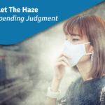 woman wears mask in haze